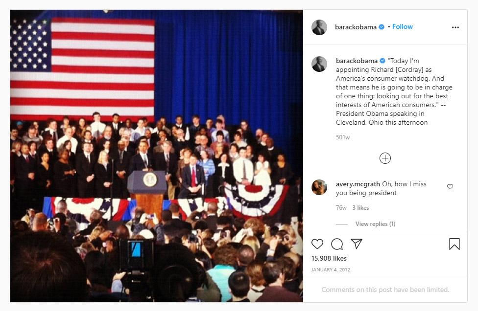 اولین پست باراک اوباما در اینستاگرام